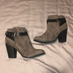 Grey and black heeled booties